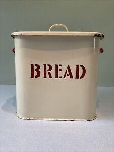 Stylish Large Vintage Cream / White / Red Enamel Bread Bin Tin - 60s