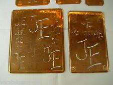 5 x JE alte Merkenthaler Monogramme, Kupfer Schablonen, Stencils, Patrons broder