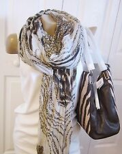 Coach Madison Phoebe Zebra Print 26636 SH BAG Brown Multi w/Scarf $278 NWT