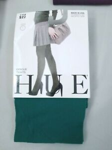 Hue Opaque Tights Size 1 or 2 Red Green Blue Plum NEW