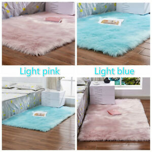 Faux Fur Luxury Square Long Haired Rug Chair Sofa Liner Puffy Cushion Home Mats