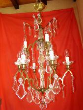 lustre à pampilles de cristal type à cage et enfilage 9 lampes, époque 19éme