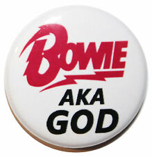 """1"""" (25mm) 'BOWIE aka GOD' Button Badge Pin - High Quality DAVID BOWIE Badge"""