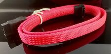 "2x Premium Pink Braided Nylon 20"" Serial ATA SATA  DATA Cable"