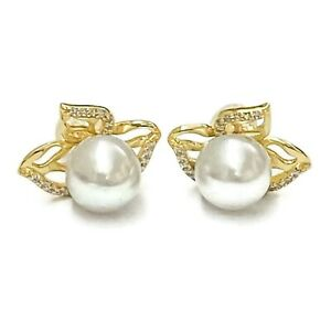 Gorgeous 9.0mm Natural White Australia South Sea Round Pearl Stud Earrings
