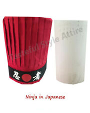 3pcs Popular hibachi chef tall hat set, Red chef tall hat set, Japanese headband