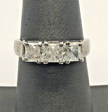 Sterling Silver 925 Oxidized Three Stone Princess Cut CZ Cocktail Band Ring 7