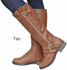 New Women FM22 Brown Black Tan Buckle Riding Knee High Biker Boots 6 to 10