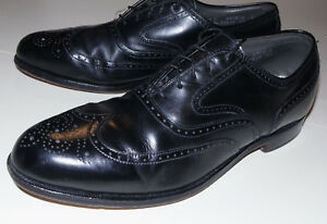 MEN'S FOOTJOY CLASSICS BLACK LEATHER WINGTIP DRESS SHOES/OXFORDS/MADE IN USA 10C