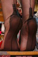 NEW GIO FF Fully Fashioned Cuban Heel Seamed Nylon Stockings Black Size 12.5 XXL