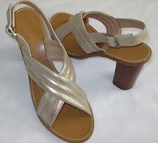 $168 J CREW Leather Metallic Gold Marcie Criss Cross Sandals Heels 12 M NIB