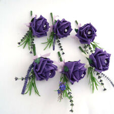 6 Wedding Flowers Buttonholes Purple Foam Roses with Crystal Pin, Groom, Guest