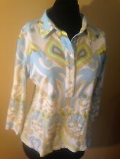J. Mclaughlin White Blue Green Button Up Collared Long Sleeve Top Size L