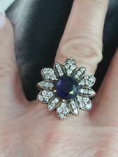 STERLING SILVER 925 SAPPHIRE &CZ STUNNING GOLD ACCENT FLOWER RING SZ 7.50