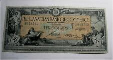 1917 Canada Canadian Bank of Commerce $10 Dollars Chartered Large Banknote F++