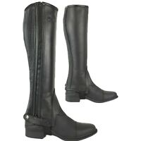 AK Side Zip with Stretch Panel Full Grain Leather Horse Riding Half Chaps