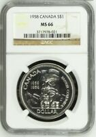 1958 Canada S$1 NGC MS66 Silver Dollar Ultra Rare