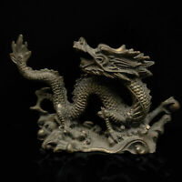 CHINESE OLD COPPER HAND CARVED FEROCITY DRAGON STATUE WALKING STICK HEAD