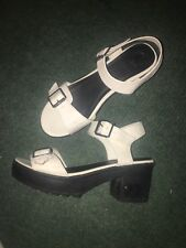 White Buckled Chunk Heel Wedges size 8