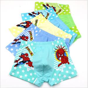 Baby Kids Boys Boxer Brief Underwear Spider-Man 100% Cotton Cartoon Panties