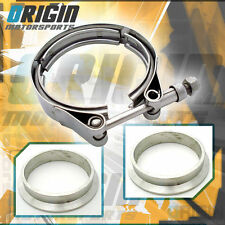 """2.5"""" Inch Turbo Exhaust Down Pipe Stainless V-Band Clamp Kit +Mild Steel Flanges"""