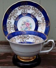 ROYAL GRAFTON - FINE BONE CHINA TEA CUP & SAUCER - BLUE BANDS / FLORAL - ENGLAND
