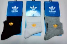 NEW ADIDAS MEDIUM COTTON SOCKS FOR MEN BLACK-WHITE-GREY WITH GOLD ICON