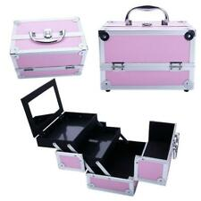 Large Pro Aluminum Makeup Train Case Jewelry Box Cosmetic Organizer Pink New