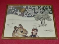 ART XXe - COLLAGE ORIGINAL POETIQUE FANTASTIQUE Ca 1970 Cadre 27 x 22 cm Souris