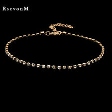 GOLD CRYSTAL RHINESTONE CHOKER NECKLACE CHAIN BLING DIAMANTE PROM WEDDING UK