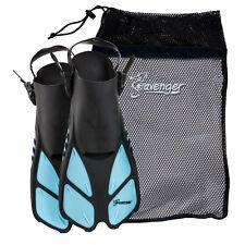 Seavenger Snorkel Swimming Training Fins Mesh Bag Set Adult Kid Dodger Blue