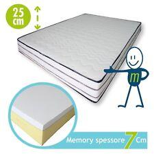 Materasso Memory Foam 7cm Bordato sfoderabile Aloe Vera altezza 25cm
