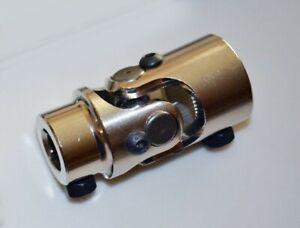"1"" DD X 3/4"" DD Chrome Steel Universal Steering U Joint Street Rat Rod coupler"