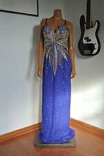 Ted Lapidus Paris Deco Blue Dress Great Gatsby Trophy Beaded Size 14