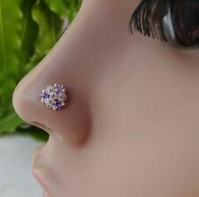 Indian Nose Ring Nose Piercing Brass Stone Crock Screw Nose Pin Vintage Jewelry