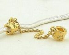 Safety Chain Sterling Silver 925 18k Gold Plated Daisy 4 Charm Bead Bracelet