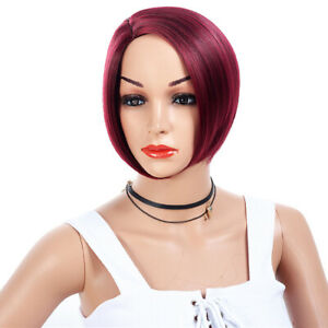 Women Wig Ladies Wig Wine Red Sexy Straight Daily Synthetic Full Wig+Wip Cap