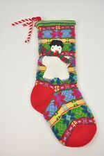 "Knit STOCKING Snowman Multi-Color Striped 21"" Christmas Tree Soft fabric"