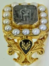 Victorian Memento Mori Skull/Skeleton ornate,painted enamel,Pearls gold ring