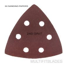 60 Pack: Large Triangular Size 240 Grit Velcro Hook & Loop Sanding Papers
