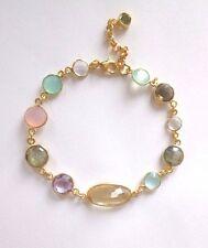 Multicolorarmband, Citrin, Calcedon, Korund 925 Silber