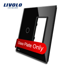 Livolo Us Standard 1Gang &1 Frame Glass Panel Only 125*125mm Swithch Plate Black