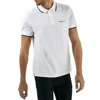 Ben Sherman Mens Tipped Pique Polo Shirt White Short Sleeve Ribbed Cuff Top
