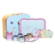 Butterfly Tin Tea Set With Cups Saucers Tea Pot Tray Sugar Pot And Spoons
