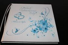 Hardcover Gästebuch zur Hochzeit , türkis blau