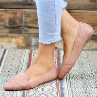 Womens Suede Boat Sandals Casual Flats Slip On Loafers Single Shoes Pointed