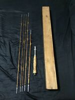 "Vintage Split Bamboo Fly Fishing Rod 5 Pieces, 8'-9"" Reversible Cork Handle"