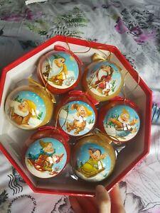 disney store christmas bauble set decoration tree ornaments snow white dwarfs