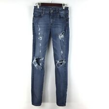 American Eagle Outfitters Hi-Rise Jegging Stretch Jeans Very Distressed Sz 0 600