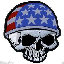"USA FLAG SKULL BIKER 5"" HELMET TOOLBOX STICKER LAPTOP CAR TRUCK DECAL"